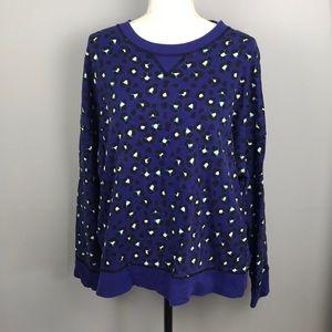 Kate Spade Blue Leopard Sweater M